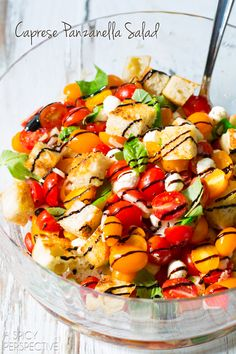 Caprese Panzanella Italian Summer Salad. So easy and a perfect way to use your summer tomato harvest!