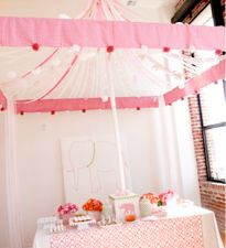 I love the way that the table has been decorated. Notice the use of crepe paper to create the detailing.