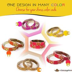 One design in many color.Choose for your dress color code. #Bangles #Classyplus #Fashion #Jewelry #WomanAccessories https://goo.gl/1Q6Tqh