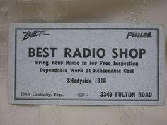 "Vintage Zenith & Philco Radio Shop Advertising Ink Blotter Cleveland Ohio 6"" X3"" #BestRadioShop"