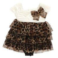 Tiered Cheetah Romper 3 9m  355432128 | Dresses | Baby Girl Clothes | Clothing | Burlington Coat Factory
