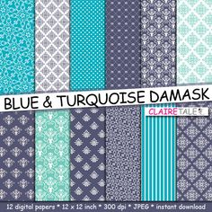 """Buy Damask digital paper: """"BLUE & TURQUOISE DAMASK"""" with turquoise damask background and classical damask patterns for scrapbooking by clairetale. Explore more products on http://clairetale.etsy.com"""