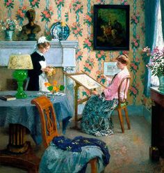 """""""Penelope"""" by Gari Melchers. 1910 oil on canvas. The model seated in the chair is the artists' wife, Corinne. In the collection of The Corcoran Museum (Now part of The National Gallery), Washington, DC. Impressionist Artists, National Gallery Of Art, Art Nouveau, American Artists, The Help, Needlework, Illustration Art, Portraits, Fine Art"""