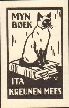 art deco bookplate Ex Libris 1930s Netherlands - Siamese cat   [someone else's caption, modified]