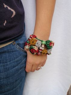 Christmas Roses Statement Bracelet Cuff by Spasojevich on Etsy, $25.00