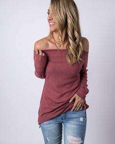mauve off shoulder t