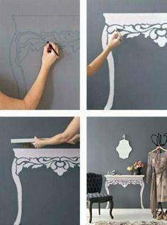 "DIY painted ""table"" shelf ♥Follow us♥"