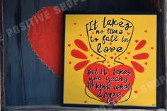 """Items similar to Hand painted, lyrics Wood Sign, """"It takes no time to fall in love. But it takes you years to know what love is """"Love Gift, For Him, For Her on Etsy"""