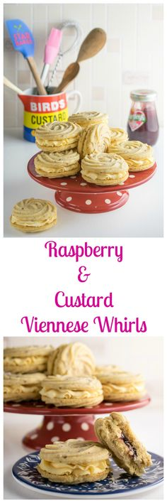 Viennese Whirls must be the most decadent of all the biscuits. Essentially butter and flour, they are almost impossibly short and they simply disintegrate on the tongue as you eat. They are commonly sold in packets in supermarkets and corner shops a Biscuit Cookies, Sandwich Cookies, Biscuit Recipe, Cake Cookies, Baking Recipes, Cookie Recipes, Dessert Recipes, Bar Recipes, Mini Desserts