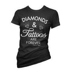 Womens Diamonds Tattoos Are Forever Tee Black