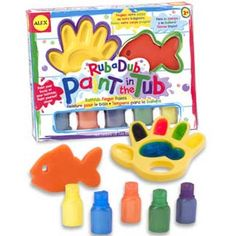 $13.99 - What? We can color in the tub!• The Bathtub Finger Painting Kit features five different brightly-colored soapy finger paints.• A fish-shaped sponge for clean up.• Hand-shaped palette to hold the paints.