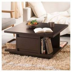 Carisa Modern Pagoda Design Coffee Table Walnut - Furniture of America : Target