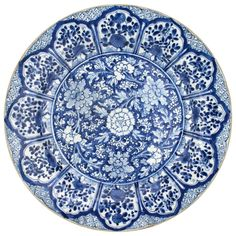 Kangxi Chinese Blue and White Porcelain Charger | From a unique collection of antique and modern ceramics at https://www.1stdibs.com/furniture/asian-art-furniture/ceramics/