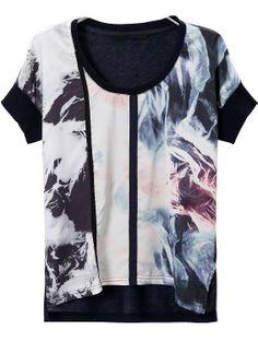 Black White Short Sleeve Digital Print T-Shirt US$22.03