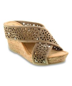 0489c1122 Loving this Taupe Lainey Suede Wedge Sandal - Women on  zulily!   zulilyfinds Shoe