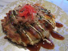 Authentic Osaka style okonomiyaki (Japanese savory pancake)