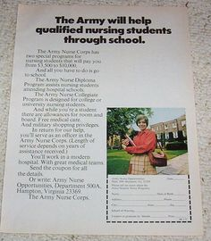 I suspect that this was the scholarship opportunity I was fortunate to have been awarded: Walter Reed Army Institute of Nursing, designed to prepare active duty nurses for the Viet Nam War.