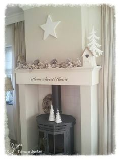 White & neutral Xmas by Tamara Jonker Home sweet home # wood stove & mantle # home inspirations # stars # landelijk interieur. Family Memories, Home Reno, Xmas, Christmas, Mantle, Entryway Tables, Neutral, Sweet Home, Living Room