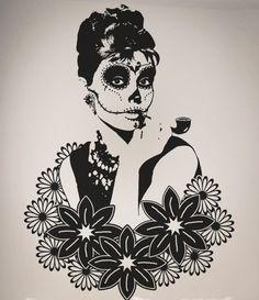 Audrey Hepburn Candy Skull Wall Art Decal - Art Serie by WallAffection, £35.00