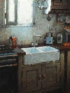 """The Sink"" - Nicolas Martin Canadian Painters, Kitchen Art, Kitchen Sink, Beautiful Paintings, Classic Paintings, Interior Paint, Painting Frames, Painting Art, Landscape Paintings"