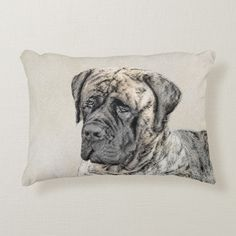 Shop English Mastiff (Brindle) Painting - Original Dog Decorative Pillow created by alpendesigns. Brindle English Mastiff, Old English Mastiffs, English Mastiff Puppies, Mastiff Dogs, Soft Pillows, Decorative Pillows, Throw Pillows, Cute Puppies, Dogs And Puppies