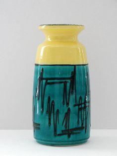 Bay Keramik Mid Century Glossy Yellow & Deep Turquoise and