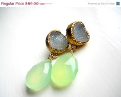 SALE Gold dipped white druzy and chalcedony briolette earrings. $62.30, via Etsy.