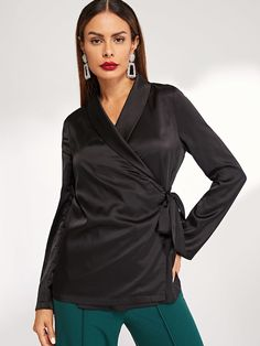 SheIn offers Shawl Collar Split Cuff Wrap Knot Blazer   more to fit your  fashionable needs. 1b2f1f3bb6dc
