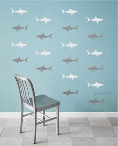 Sticker Mural de requin décalcomanies par FairyDustDecals sur Etsy