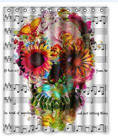 "Custom Music Symbols & Cool Floral Sugar Skull Waterproof Bathroom Fabric Shower Curtain,Bathroom decor 60"" x 72"" Shower Curtain http://www.amazon.com/dp/B00MWO5RN2/ref=cm_sw_r_pi_dp_nuf6vb1A8RN4H"