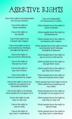 Assertive rights. Self Help. Tips. Self Esteem. Coping Skills, Social Skills, Relation D Aide, Therapy Tools, Cbt Therapy, Dbt, Assertiveness, Therapy Activities, Therapy Worksheets