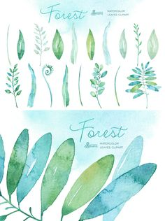 Forest Watercolor Leaves  -  https://www.designcuts.com/product/forest-watercolor-leaves/