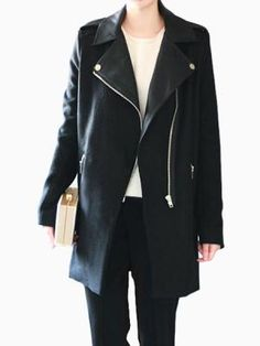 039fa5c8fa4 Shop Locomotive Zipper Wool Black Coat With Leather Splicing from  choies.com .Free shipping