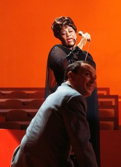 "Frank Sinatra watches Ella Fitzgerald perform during a rehearsal for the special ""A Man and His Music + Ella + Jobim"" (1967)"