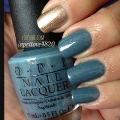 Opi nail polish #nails #nail polish swatch #opi nail polish #blue nails #gold nails #spring nails #easter nails