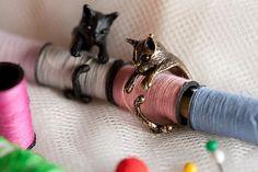 빈티지 수제 귀여운 동물 고양이 반지 여성 여자 남성 크리스마스 키티 꼬리 패션 파티 보석 애완 동물 애인 선물 액세서리