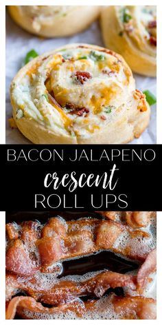 These Bacon Jalapeno Crescent Roll Ups are an easy appetizer or dinner recipe that are always a crowd favorite. They are made with canned crescent dough, bacon, cream cheese, garlic powder, green onions, chopped jalapenos, and shredded cheddar cheese. Bacon Recipes, Spicy Recipes, Delicious Recipes, Crescent Dough, Crescent Rolls, Finger Food Appetizers, Finger Foods, Bacon Roll, Yummy Food