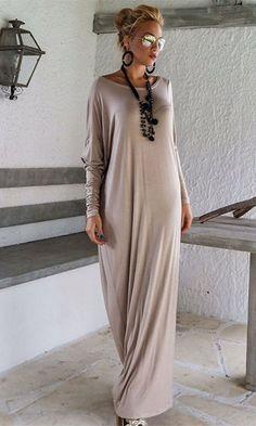 International Envy Light Grey Long Sleeve Off The Shoulder Draped Loose Maxi Dress