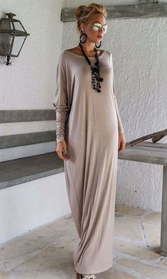 International Envy Light Grey Long Sleeve Off The Shoulder Draped Loose Maxi Dress