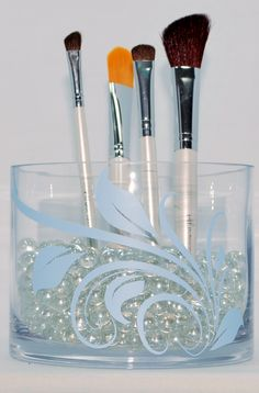 My make up brush vase.  Vase from Homegoods and Decals from Say It with Sparks