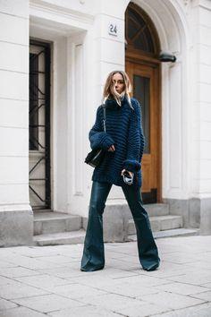 chunky knit ganni leather flare pants by malene birger