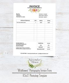 Brand your photography business beautifully with this Wildflower Invoice Form Photoshop template for photographers, by November House
