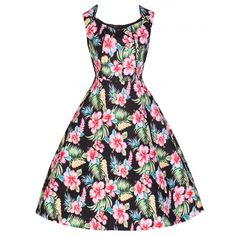 Lindy Bop May Vintage Hibiscus Floral Print Swing Dress S Black -- Read more at the image link. Vintage Inspired Fashion, Vintage Inspired Dresses, Vintage Style Dresses, Vintage Fashion, Dress Vintage, Black Flare Dress, Dress Black, Tropical Fashion, Pin Up Dresses