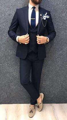 wedding suits men Collection: Spring Summer 2019 Product: Slim-Fit Wool Suit Color Code: Navy Blue Size: Suit Material: wool, polyester Machine Washable: No Fitting: Slim-fit Package Include: Jacket, Vest, Pants Only Gifts: Shirt, Chain and Neck Tie Blue Slim Fit Suit, Black Suit Men, Dark Navy Suit, Blazer Outfits Men, Stylish Mens Outfits, Blue Blazer Outfit Men, Fancy Casual Outfits, Navy Blue Blazer, Dress Suits For Men
