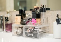 Large Acrylic Makeup Organizer - Cosmetics Storage for Lipsticks, Liners, Nail Polishes, Brushes