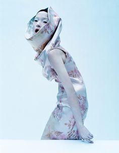 "JanePlum : Photo Xiao Wen Ju wears a dress from Alexander McQueen, La Poupée, Spring/Summer 1997 in ""Dark Angel"" for Vogue UK March 2015 photographed by Tim Walker"