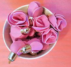 Decorative Tassels - 6 Pale Gold Cap, Pink Flower Tassels - Rose Tassels For Purses - Key Chain Tassels - Tassels for Jewelry - TD-1G11