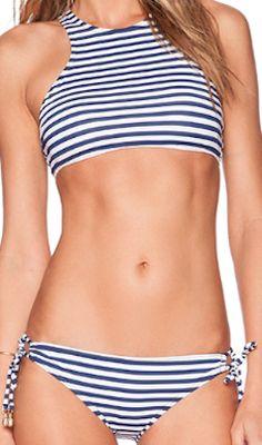 Blue striped supportive top bikini