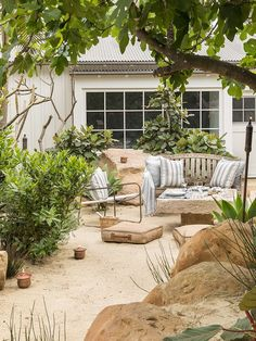 Garden Ideas & 7 Pro Tips, Courtesy Of Hollywood's Go-To Guy - - Garden ideas are what celebs like Ellen deGeneres turn to Scott Shrader for. Peek inside his new book, The Art of Outdoor Living, and snag his pro tips! Outdoor Garden Furniture, Outdoor Rooms, Outdoor Living, Outdoor Decor, Drought Resistant Landscaping, Drought Resistant Plants, Drought Tolerant, Ellen Degeneres, Beach Gardens