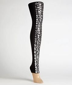 Wolford Heavy Metal Leggings, M, Black by Wolford. $165.00. Smooth elastic waistband - silver belt not included. Rock star inspired leggings. Approx. 27'' inseam. Glittery metal sequins adorn the front. 66 denier opaque, luxe stretch nylon